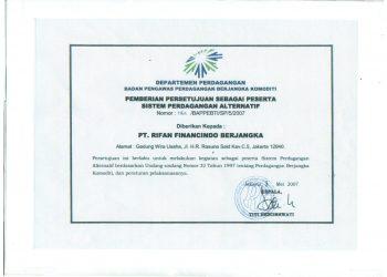 Sertifikat Persetujuan sebagai Peserta Perdagangan Alternatif (Kemendag)